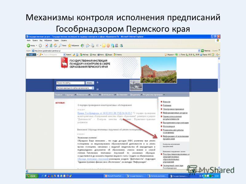 Механизмы контроля исполнения предписаний Гособрнадзором Пермского края