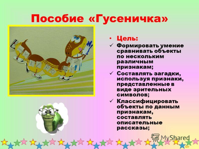 Пособие «Гусеничка» Цель: Формировать умение сравнивать объекты по нескольким различным признакам; Составлять загадки, используя признаки, представленные в виде зрительных символов; Классифицировать объекты по данным признакам, составлять описательны
