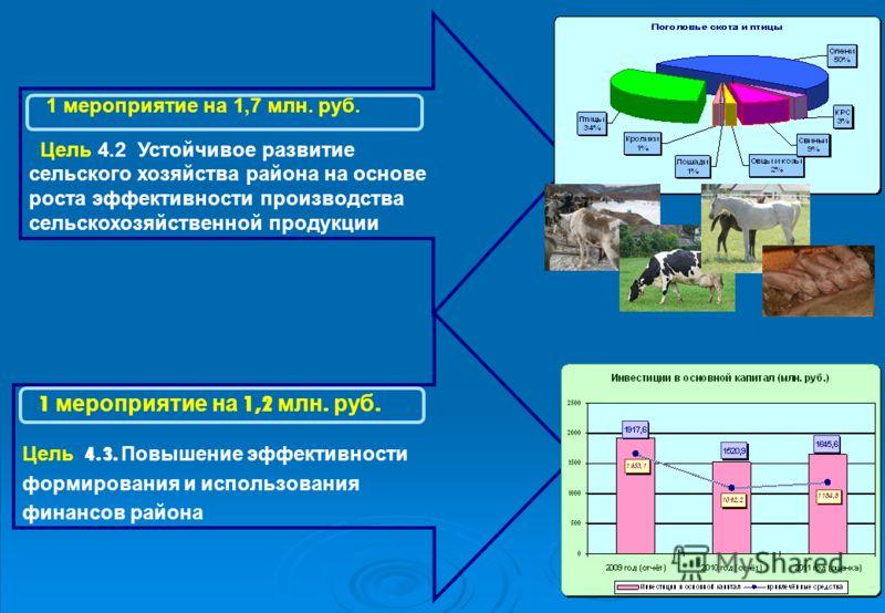 1 мероприятие на 1,2 млн. руб. Цель 4.3. Повышение эффективности формирования и использования финансов района 1 мероприятие на 1,7 млн. руб. Цель 4.2 Устойчивое развитие сельского хозяйства района на основе роста эффективности производства сельскохоз