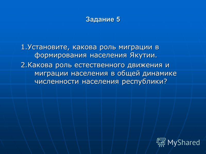 Задание 5 1.Установите, какова роль миграции в формирования населения Якутии. 2.Какова роль естественного движения и миграции населения в общей динамике численности населения республики?