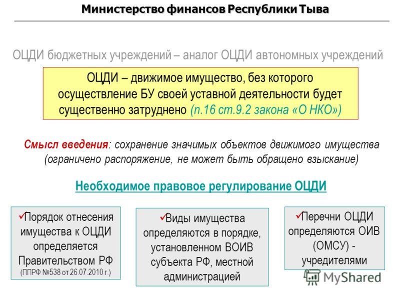ОЦДИ бюджетных учреждений – аналог ОЦДИ автономных учреждений ОЦДИ – движимое имущество, без которого осуществление БУ своей уставной деятельности будет существенно затруднено (п.16 ст.9.2 закона «О НКО») Порядок отнесения имущества к ОЦДИ определяет