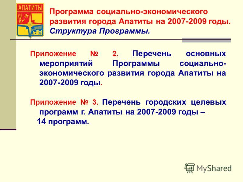 Программа социально-экономического развития города Апатиты на 2007-2009 годы. Структура Программы. Приложение 2. Перечень основных мероприятий Программы социально- экономического развития города Апатиты на 2007-2009 годы. Приложение 3. Перечень город