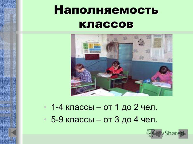 Наполняемость классов 1-4 классы – от 1 до 2 чел. 5-9 классы – от 3 до 4 чел.