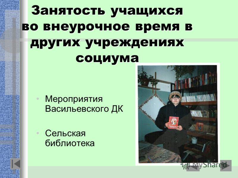 Занятость учащихся во внеурочное время в других учреждениях социума Мероприятия Васильевского ДК Сельская библиотека