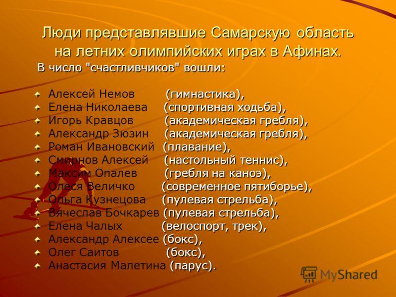 Люди представлявшие Самарскую область на летних олимпийских играх в Афинах. В число