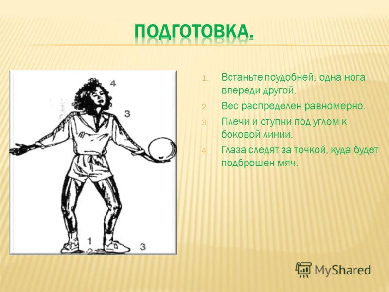1. Встаньте поудобней, одна нога впереди другой. 2. Вес распределен равномерно. 3. Плечи и ступни под углом к боковой линии. 4. Глаза следят за точкой, куда будет подброшен мяч.