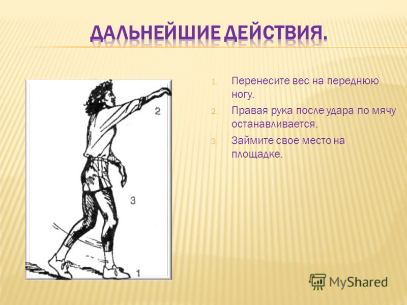 1. Перенесите вес на переднюю ногу. 2. Правая рука после удара по мячу останавливается. 3. Займите свое место на площадке.