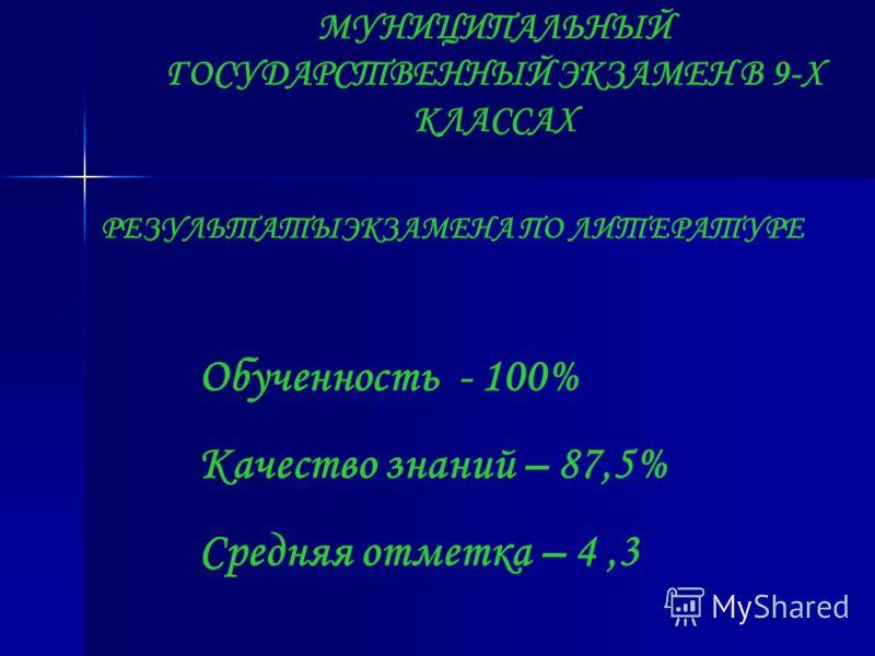 МУНИЦИПАЛЬНЫЙ ГОСУДАРСТВЕННЫЙ ЭКЗАМЕН В 9-Х КЛАССАХ РЕЗУЛЬТАТЫЭКЗАМЕНА ПО ЛИТЕРАТУРЕ Обученность - 100% Качество знаний – 87,5% Средняя отметка – 4,3