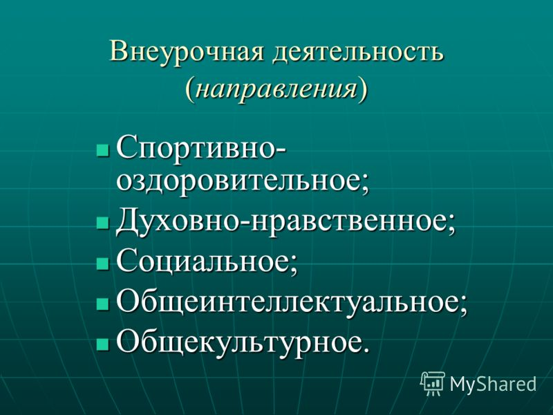 Внеурочная деятельность (направления) Спортивно- оздоровительное; Спортивно- оздоровительное; Духовно-нравственное; Духовно-нравственное; Социальное; Социальное; Общеинтеллектуальное; Общеинтеллектуальное; Общекультурное. Общекультурное.
