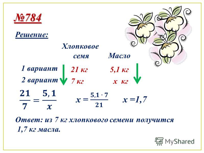 784 Решение: 1 вариант 2 вариант Хлопковое семя Масло 21 кг 7 кг 5,1 кг x кг x =1,7 Ответ: из 7 кг хлопкового семени получится 1,7 кг масла.