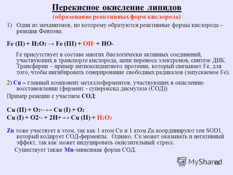18 Перекисное окисление липидов (образование реактивных форм кислорода) 1)Один из механизмов, по которому образуются реактивные формы кислорода – реакция Фентона: Fe (II) + H 2 O 2 Fe (III) + OH· + HO- Fe присутствует в составе многих биологически ак