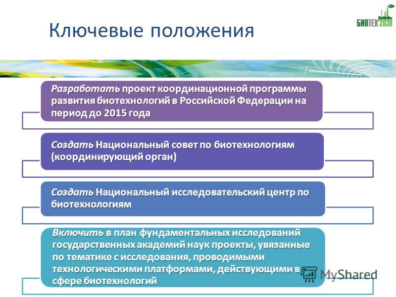 Ключевые положения Разработать проект координационной программы развития биотехнологий в Российской Федерации на период до 2015 года Создать Национальный совет по биотехнологиям (координирующий орган) Создать Национальный исследовательский центр по б