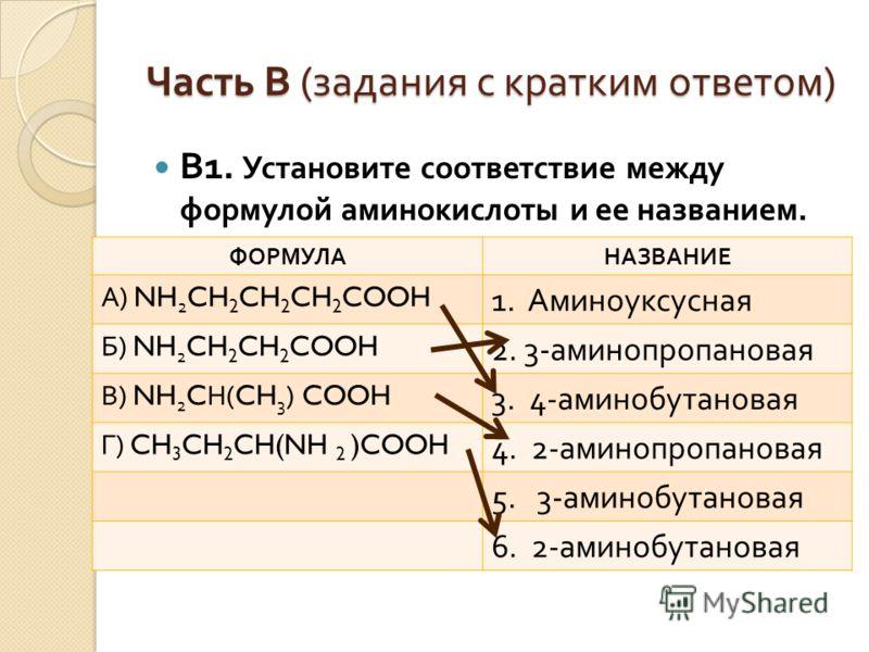 В 1. Установите соответствие между формулой аминокислоты и ее названием. Часть В ( задания с кратким ответом ) ФОРМУЛАНАЗВАНИЕ А ) NH 2 CH 2 CH 2 CH 2 COOH 1. Аминоуксусная Б ) NH 2 CH 2 CH 2 COOH 2. 3- аминопропановая В ) NH 2 C Н (CH 3 ) COOH 3. 4-