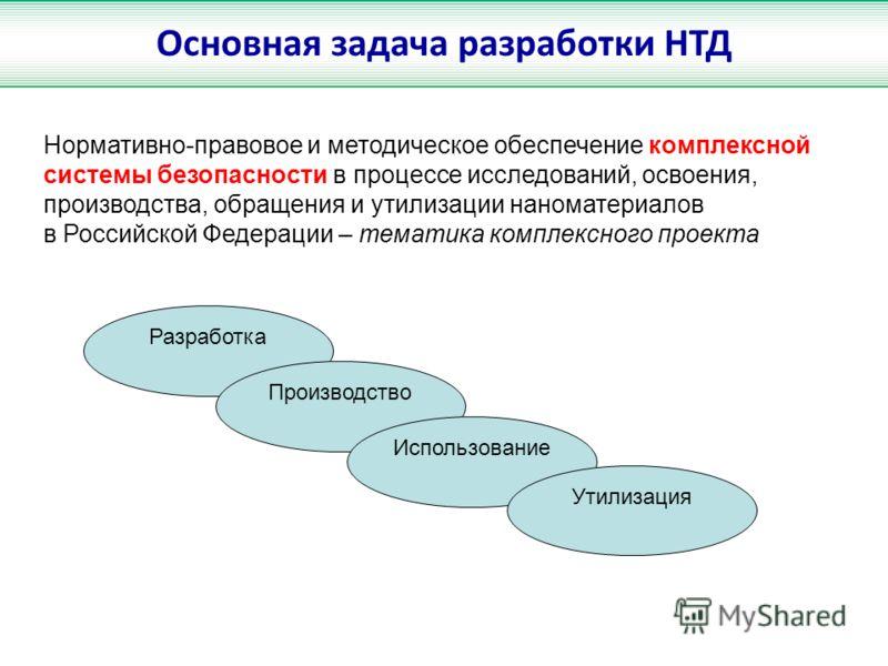 Основная задача разработки НТД Нормативно-правовое и методическое обеспечение комплексной системы безопасности в процессе исследований, освоения, производства, обращения и утилизации наноматериалов в Российской Федерации – тематика комплексного проек
