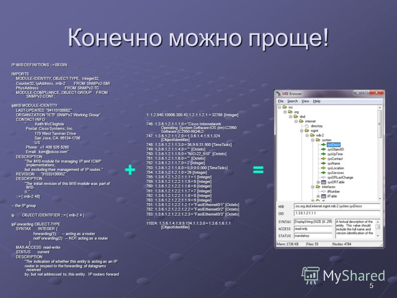 5 Конечно можно проще! IP-MIB DEFINITIONS ::= BEGIN IMPORTS MODULE-IDENTITY, OBJECT-TYPE, Integer32, MODULE-IDENTITY, OBJECT-TYPE, Integer32, Counter32, IpAddress, mib-2 FROM SNMPv2-SMI Counter32, IpAddress, mib-2 FROM SNMPv2-SMI PhysAddress FROM SNM