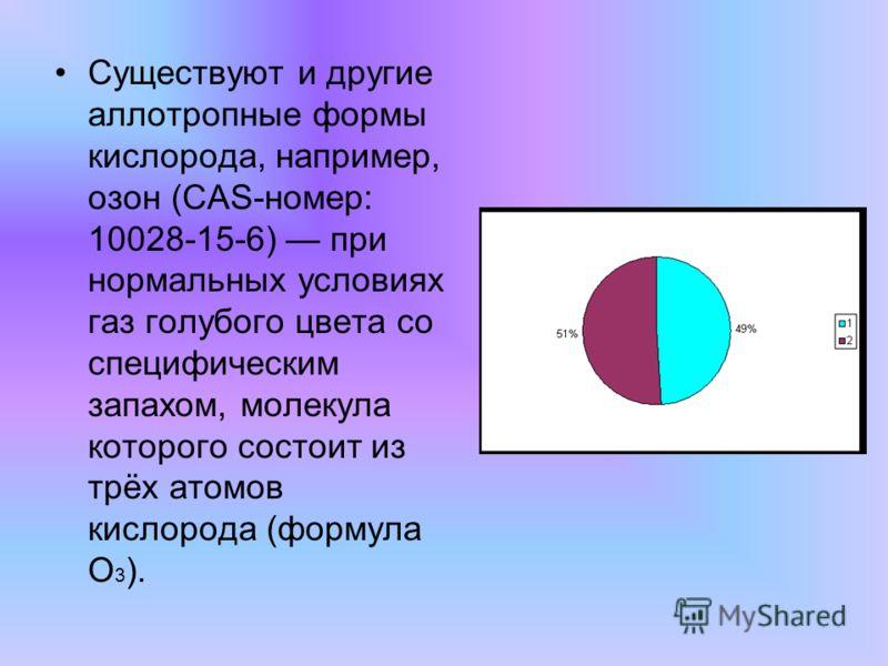 Существуют и другие аллотропные формы кислорода, например, озон (CAS-номер: 10028-15-6) при нормальных условиях газ голубого цвета со специфическим запахом, молекула которого состоит из трёх атомов кислорода (формула O 3 ).