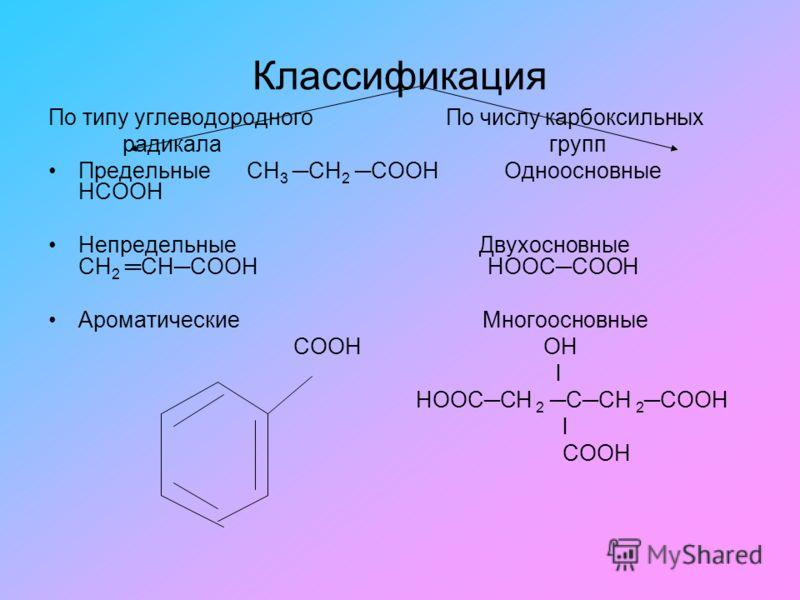 Классификация По типу углеводородного По числу карбоксильных радикала групп Предельные СН 3 СН 2 СООН Одноосновные НСООН Непредельные Двухосновные СН 2 СНСООН НООССООН Ароматические Многоосновные СООН ОН l НООССН 2 ССН 2 СООН l СООН