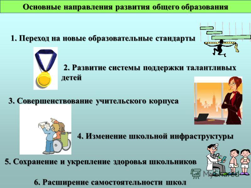 Основные направления развития общего образования 1. Переход на новые образовательные стандарты 1. Переход на новые образовательные стандарты 2. Развитие системы поддержки талантливых детей 2. Развитие системы поддержки талантливых детей 3. Совершенст