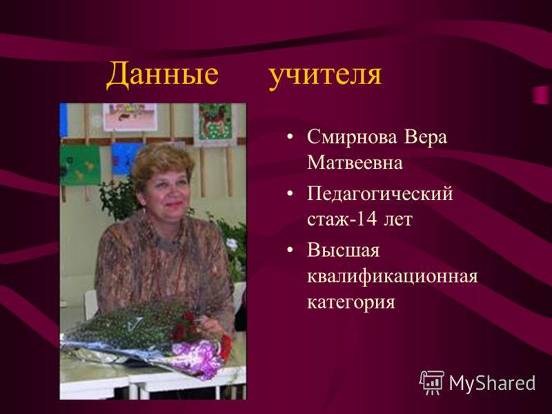 Данные учителя Смирнова Вера Матвеевна Педагогический стаж-14 лет Высшая квалификационная категория