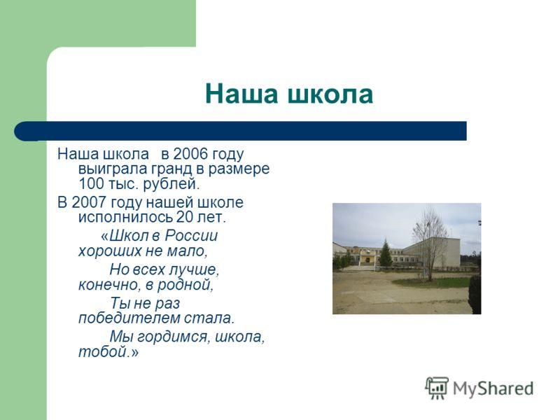 Наша школа Наша школа в 2006 году выиграла гранд в размере 100 тыс. рублей. В 2007 году нашей школе исполнилось 20 лет. «Школ в России хороших не мало, Но всех лучше, конечно, в родной, Ты не раз победителем стала. Мы гордимся, школа, тобой.»