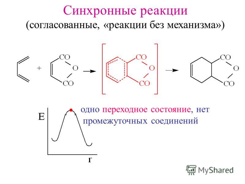 Синхронные реакции (согласованные, «реакции без механизма») одно переходное состояние, нет промежуточных соединений