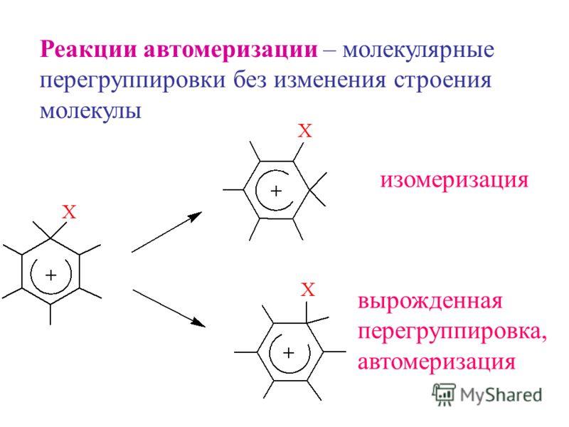 Реакции автомеризации – молекулярные перегруппировки без изменения строения молекулы изомеризация вырожденная перегруппировка, автомеризация