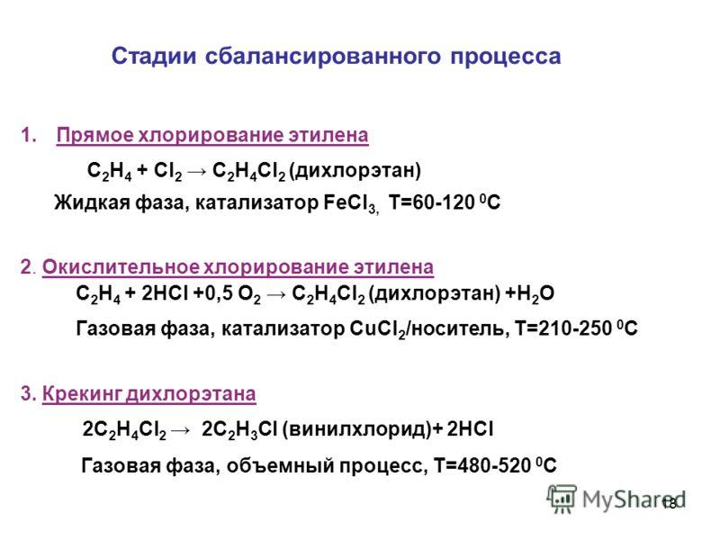 18 Стадии сбалансированного процесса 1.Прямое хлорирование этилена С 2 H 4 + Cl 2 C 2 H 4 Сl 2 (дихлорэтан) Жидкая фаза, катализатор FeCl 3, Т=60-120 0 С 2. Окислительное хлорирование этилена С 2 H 4 + 2HCl +0,5 O 2 C 2 H 4 Сl 2 (дихлорэтан) +H 2 O Г