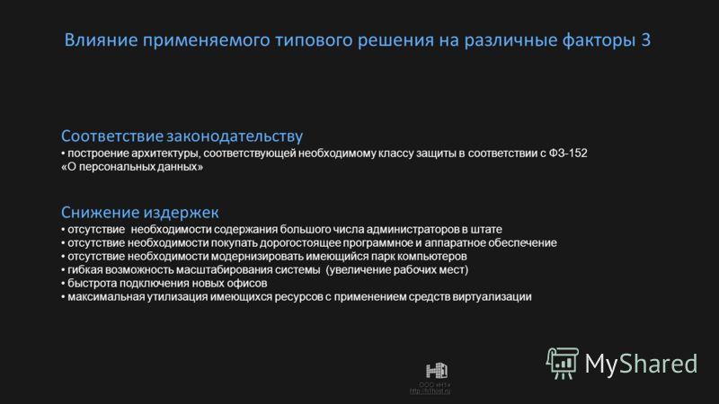 ООО «Н1» http://h1host.ru Влияние применяемого типового решения на различные факторы 3 Снижение издержек отсутствие необходимости содержания большого числа администраторов в штате отсутствие необходимости содержания большого числа администраторов в ш