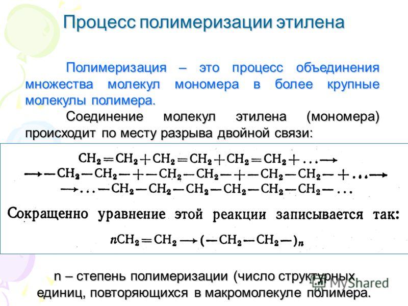 Процесс полимеризации этилена Полимеризация – это процесс объединения множества молекул мономера в более крупные молекулы полимера. Соединение молекул этилена (мономера) происходит по месту разрыва двойной связи: n – степень полимеризации (число стру