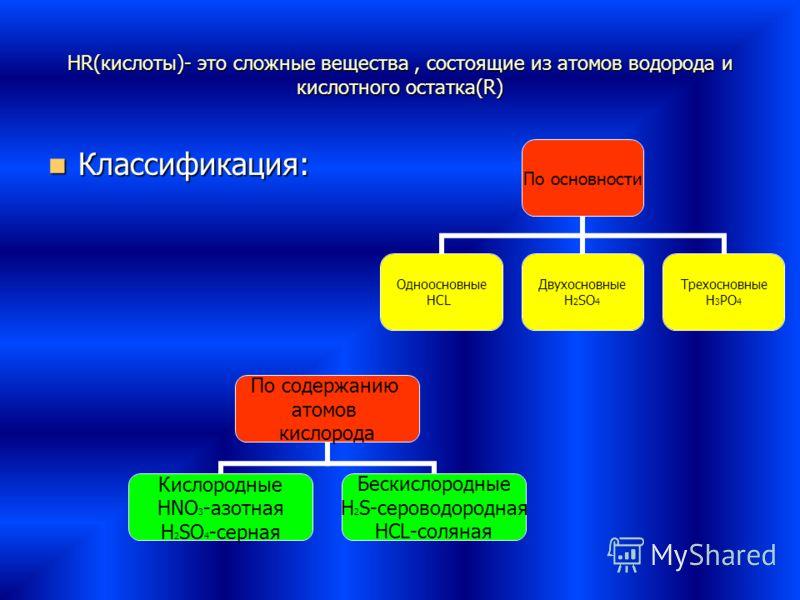 HR(кислоты)- это сложные вещества, состоящие из атомов водорода и кислотного остатка(R) Классификация: По основности Одноосновные HCL Двухосновные H2SO4 Трехосновные H3PO4 По содержанию атомов кислорода Кислородные HNO3-азотная H2SO4-серная Бескислор