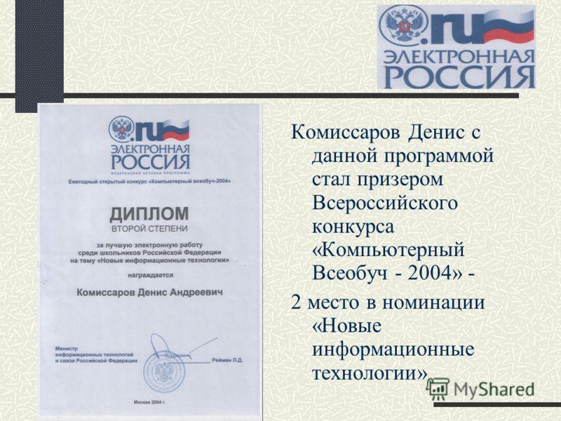 Комиссаров Денис с данной программой стал призером Всероссийского конкурса «Компьютерный Всеобуч - 2004» - 2 место в номинации «Новые информационные технологии»