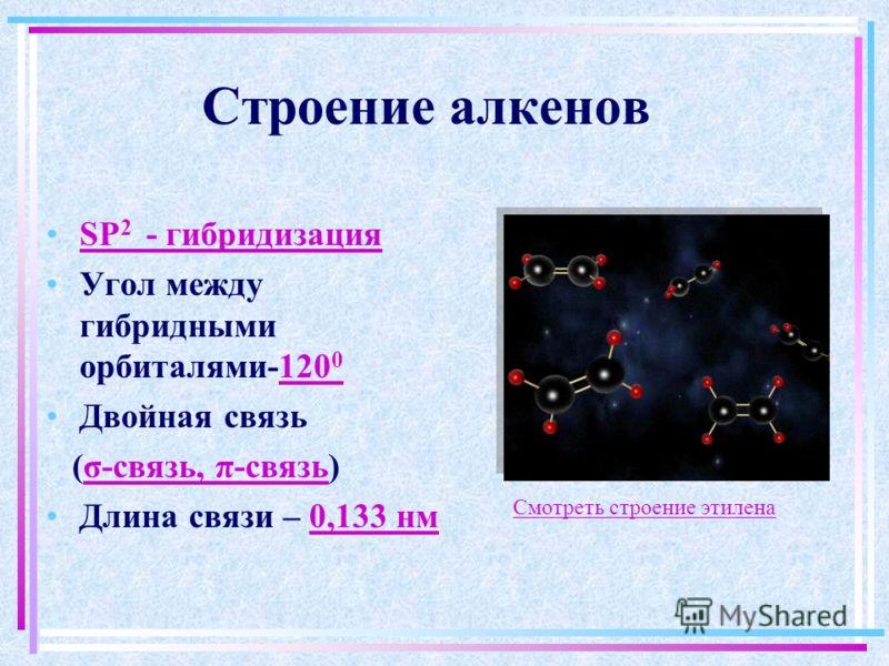 Строение алкенов SP 2 - гибридизация Угол между гибридными орбиталями-120 0 Двойная связь (σ-связь, π-связь) Длина связи – 0,133 нм Смотреть строение этилена