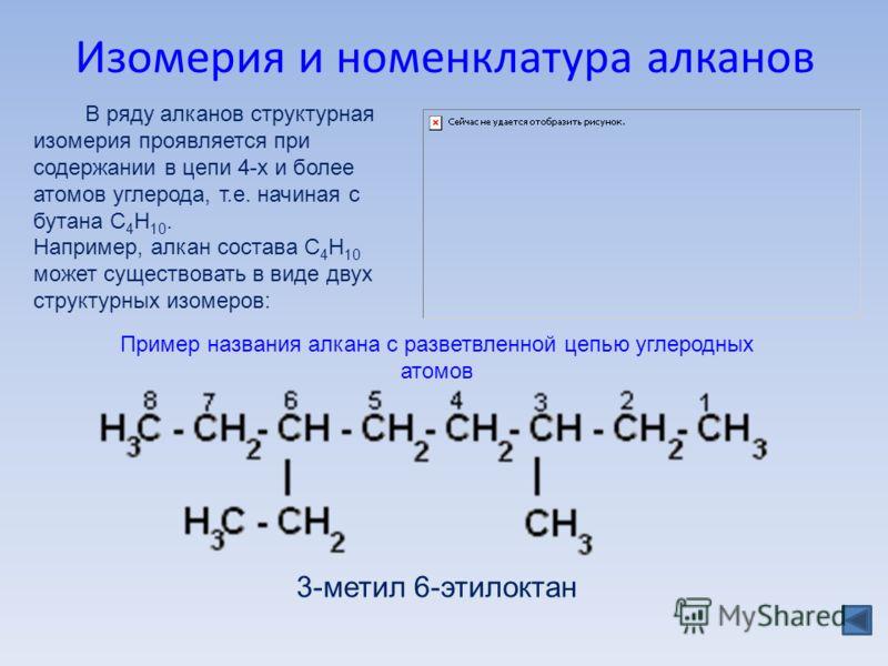 Изомерия и номенклатура алканов В ряду алканов структурная изомерия проявляется при содержании в цепи 4-х и более атомов углерода, т.е. начиная с бутана С 4 Н 10. Например, алкан состава C 4 H 10 может существовать в виде двух структурных изомеров: 3