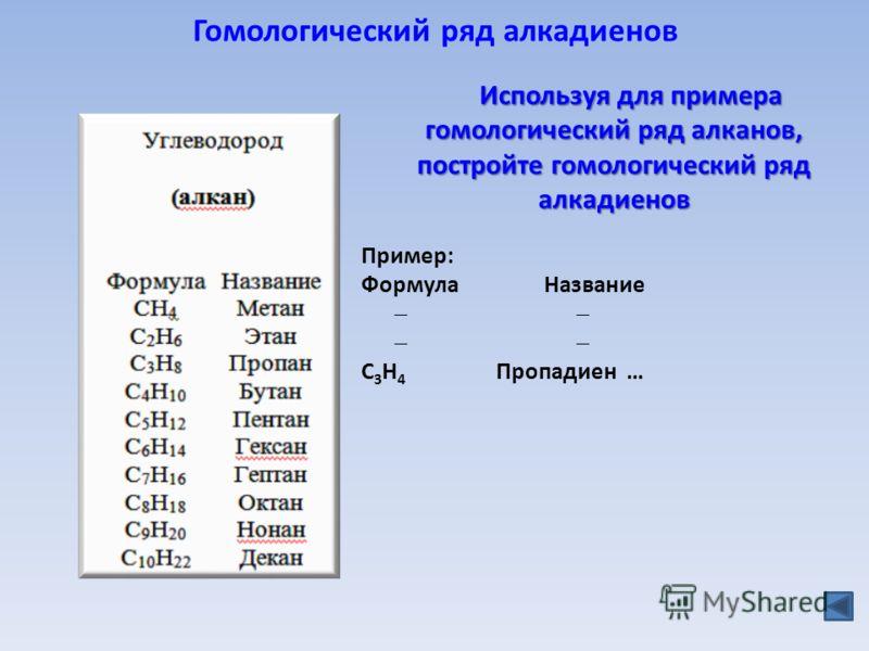 Гомологический ряд алкадиенов Пример: Формула Название C 3 H 4 Пропадиен … Используя для примера гомологический ряд алканов, постройте гомологический ряд алкадиенов