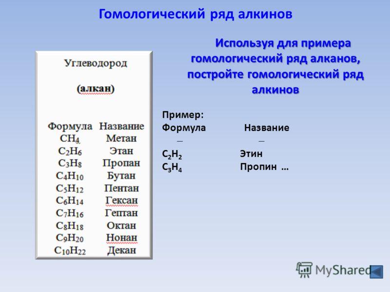 Гомологический ряд алкинов Пример: Формула Название C 2 H 2 Этин C 3 H 4 Пропин … Используя для примера гомологический ряд алканов, постройте гомологический ряд алкинов