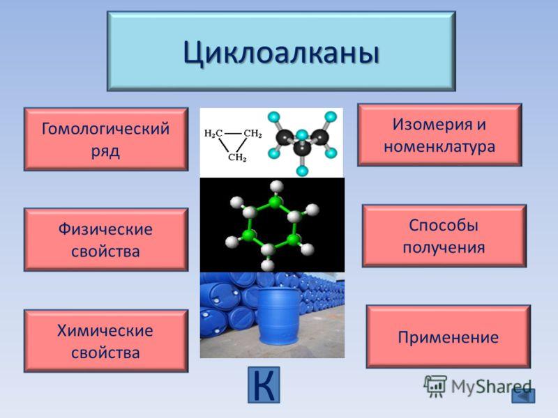 Циклоалканы Гомологический ряд Изомерия и номенклатура Физические свойства Химические свойства Применение Способы получения К
