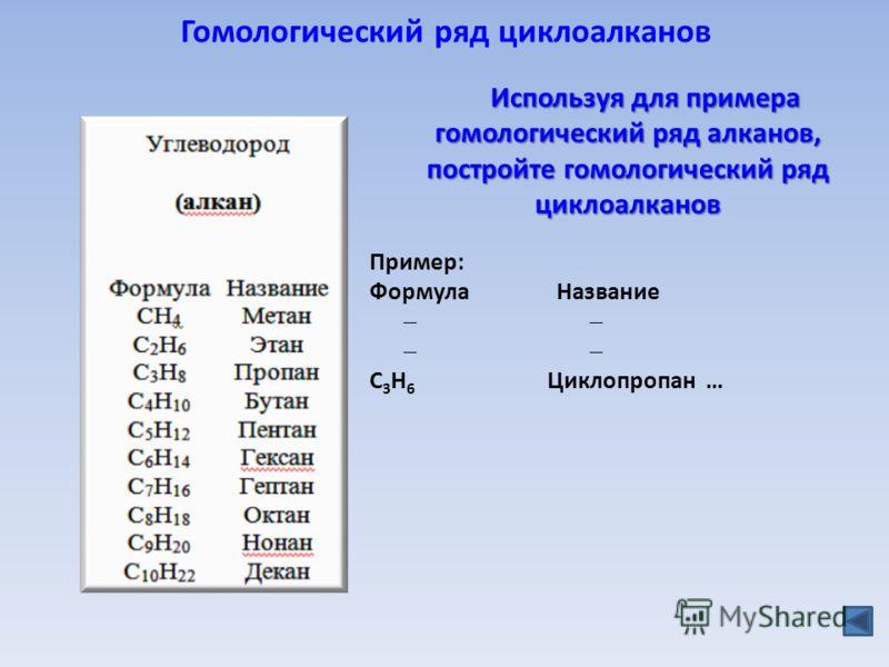 Гомологический ряд циклоалканов Пример: Формула Название C 3 H 6 Циклопропан … Используя для примера гомологический ряд алканов, постройте гомологический ряд циклоалканов