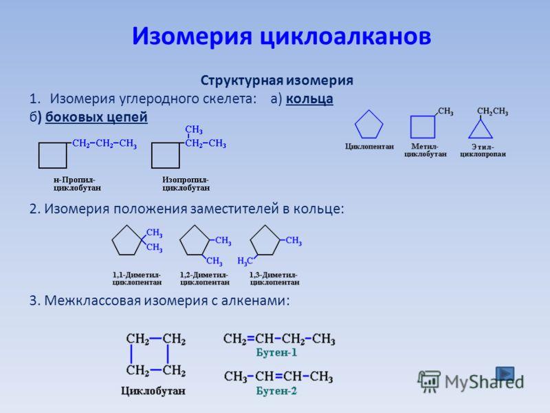 Изомерия циклоалканов Структурная изомеpия 1.Изомерия углеродного скелета: а) кольца б) боковых цепей 2. Изомерия положения заместителей в кольце: 3. Межклассовая изомерия с алкенами:
