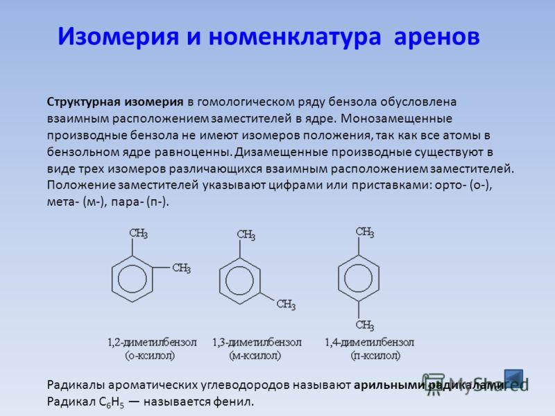 Изомерия и номенклатура аренов Структурная изомерия в гомологическом ряду бензола обусловлена взаимным расположением заместителей в ядре. Монозамещенные производные бензола не имеют изомеров положения, так как все атомы в бензольном ядре равноценны.
