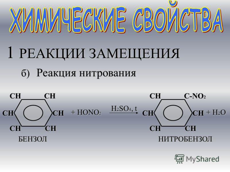 1 РЕАКЦИИ ЗАМЕЩЕНИЯ СН СНСНСНСН СН БЕНЗОЛ б) Реакция нитрования + НОNО2 СН СНСН С-NO 2 СН СН НИТРОБЕНЗОЛ + Н 2 О H2SO4, t