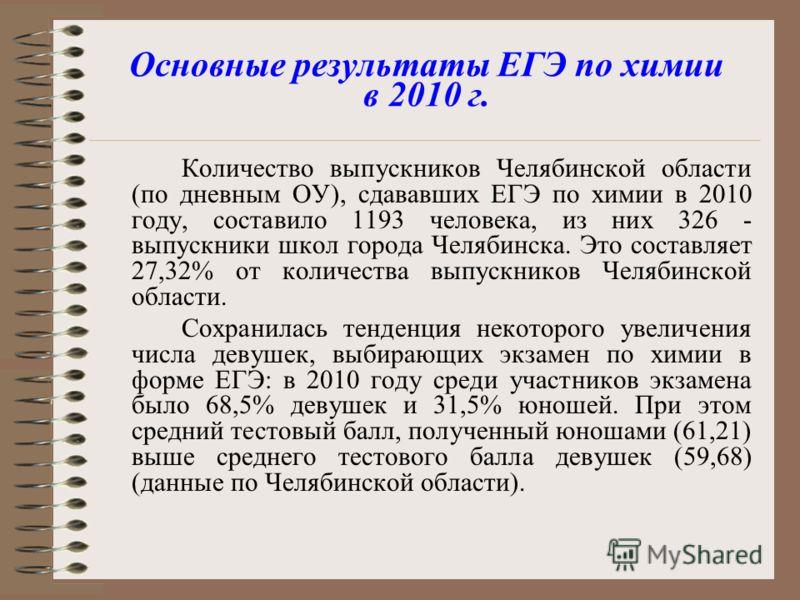 Основные результаты ЕГЭ по химии в 2010 г. Количество выпускников Челябинской области (по дневным ОУ), сдававших ЕГЭ по химии в 2010 году, составило 1193 человека, из них 326 - выпускники школ города Челябинска. Это составляет 27,32% от количества вы