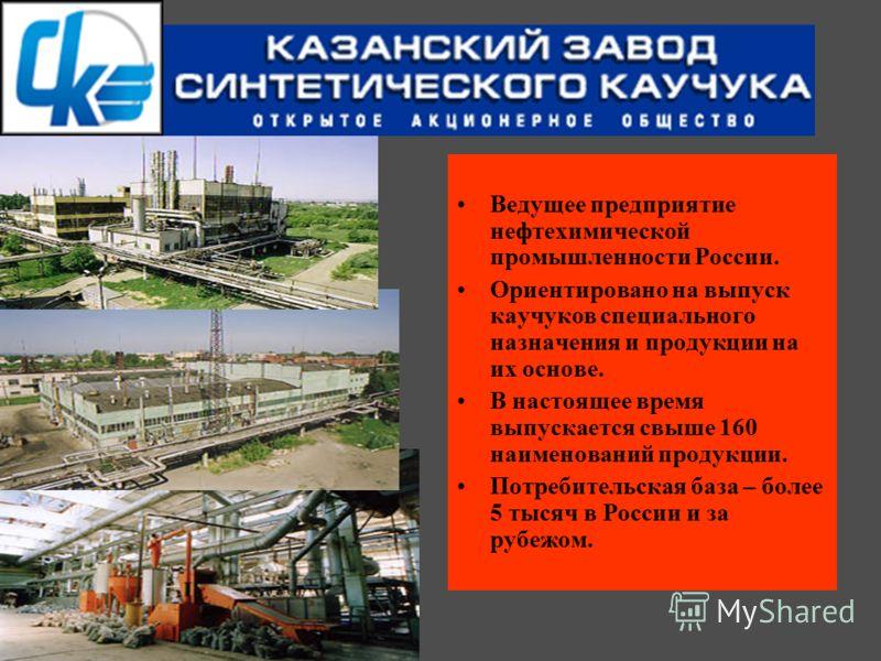 Ведущее предприятие нефтехимической промышленности России. Ориентировано на выпуск каучуков специального назначения и продукции на их основе. В настоящее время выпускается свыше 160 наименований продукции. Потребительская база – более 5 тысяч в Росси