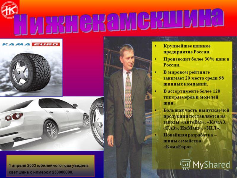 Крупнейшее шинное предприятие России. Производит более 30% шин в России. В мировом рейтинге занимает 20 место среди 98 шинных компаний. В ассортименте более 120 типоразмеров и моделей шин. Большая часть выпускаемой продукции поставляется на заводы «А