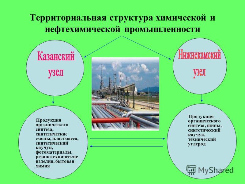 Территориальная структура химической и нефтехимической промышленности Продукция органического синтеза, синтетические смолы, пластмасса, синтетический каучук, фотоматериалы, резинотехнические изделия, бытовая химия Продукция органического синтеза, шин