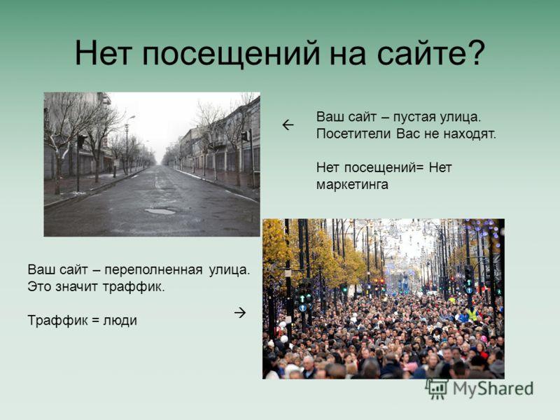 Нет посещений на сайте? Ваш сайт – пустая улица. Посетители Вас не находят. Нет посещений= Нет маркетинга Ваш сайт – переполненная улица. Это значит траффик. Траффик = люди