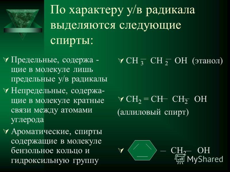По характеру у/в радикала выделяются следующие спирты: Предельные, содержа - щие в молекуле лишь предельные у/в радикалы Непредельные, содержа- щие в молекуле кратные связи между атомами углерода Ароматические, спирты содержащие в молекуле бензольное