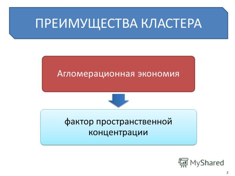 ПРЕИМУЩЕСТВА КЛАСТЕРА Агломерационная экономия фактор пространственной концентрации 3