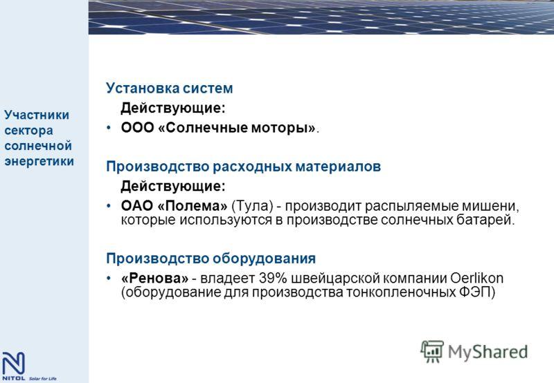 Установка систем Действующие: ООО «Солнечные моторы». Производство расходных материалов Действующие: ОАО «Полема» (Тула) - производит распыляемые мишени, которые используются в производстве солнечных батарей. Производство оборудования «Ренова» - влад