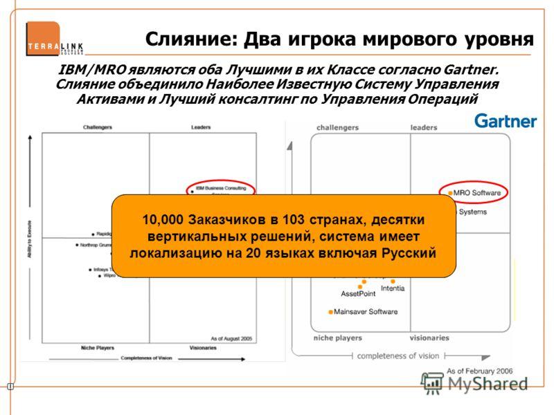 Слияние: Два игрока мирового уровня IBM/MRO являются оба Лучшими в их Классе согласно Gartner. Слияние объединило Наиболее Известную Систему Управления Активами и Лучший консалтинг по Управления Операций MRO – единственная компания в, которая была по