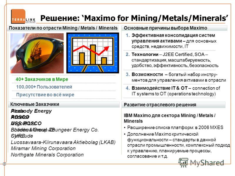 Решение: Maximo for Mining/Metals/Minerals Ключевые Заказчики Развитие отраслевого решения IBM Maximo для сектора Mining / Metals / Minerals Расширение списка платформ: в 2006 MXES Дополнение Maximo критической функциональности – стандарты в данной о